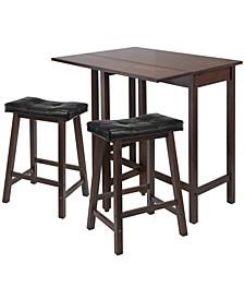 3-Piece Lynnwood Drop Leaf Kitchen Table with 2 Cushion Saddle Seat Stools