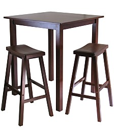Winsome Wood Parkland 3-Piece Square High/Pub Table Set with 2 Saddle Seat Stools