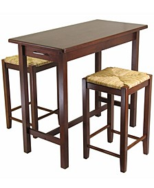 Wood Sally 3-Piece Breakfast Table with 2 Rush Seat Stools Set