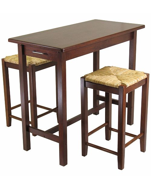 Winsome Wood Sally 3-Piece Breakfast Table with 2 Rush Seat Stools Set