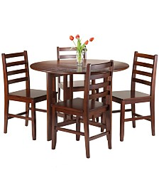 Winsome Wood Alamo 5-Piece Round Drop Leaf Table with 4 Hamilton Ladder Back