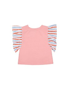 Flapdoodles Little Girls Flutter Sleeve Top