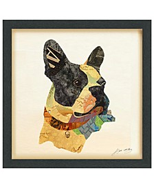 'Boston Terrier Close-up' Dimensional Collage Wall Art - 17'' x 17''