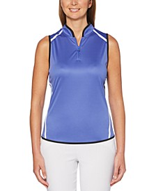 Colorblocked Sleeveless Golf Polo Shirt