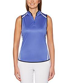 Colorblocked Sleeveless Golf Polo Shirt