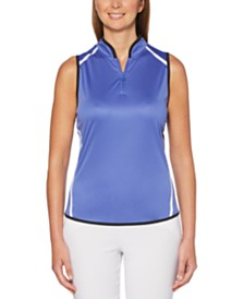 PGA TOUR Colorblocked Sleeveless Golf Polo Shirt