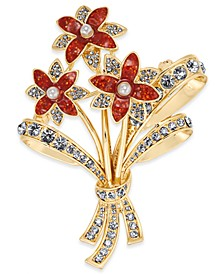 Gold-Tone Crystal & Imitation Pearl Flower Bouquet Pin, Created for Macy's
