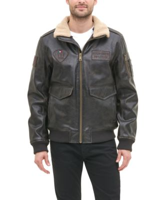 Men's Top Gun Faux Leather Aviator Bomber Jacket, Created for Macy's
