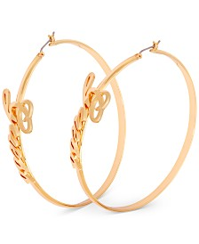 GUESS Large Logo-Script Hoop Earrings 2-1/2""