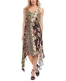 Mixed-Print Handkerchief-Hem Slip Dress