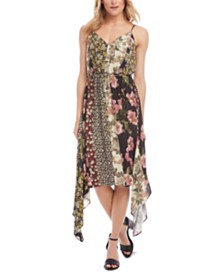 Karen Kane Mixed-Print Handkerchief-Hem Slip Dress