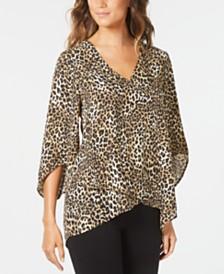 Karen Kane Leopard Print Crossover-Hem Top