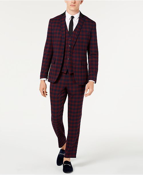 INC International Concepts I.N.C. Men's Tartan Suit Separates, Created for Macy's