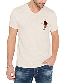 Men's Embroidered Rose T-Shirt