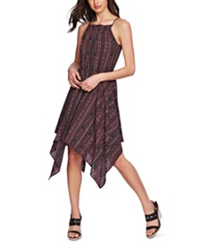 1.STATE Tribal-Print Handkerchief-Hem Dress