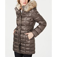 Deals on Laundry by Shelli Segal Hooded Faux-Fur-Trim Puffer Coat