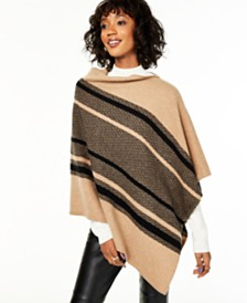 Charter Club Cashmere Chevron Striped Poncho, Created for Macy's