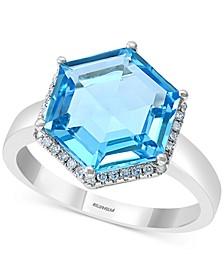 EFFY® Blue Topaz (5-1/3 ct. t.w.) & Diamond (1/8 ct. t.w.) Statement Ring in 14k White Gold