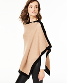 Charter Club Cashmere Border Poncho, Created for Macy's