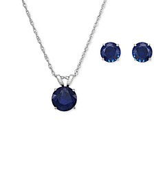 Set Lab-Created Sapphire Pendant Necklace and Matching Stud Earrings (3-1/10 ct. t.w.) in 10k White Gold(Also Available in Ruby and Emerald)