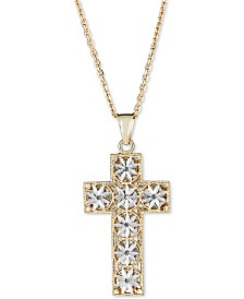 "Italian Gold Two-Tone Textured Cross 18"" Pendant Necklace in 14k Gold & White Gold"