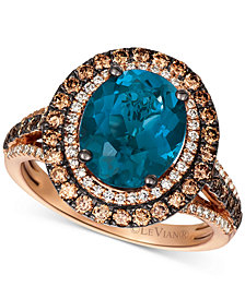 Le Vian® Deep Sea Blue Topaz (4 ct. t.w.) & Diamond (7/8 ct.t.w.) Statement Ring in 14k Rose Gold