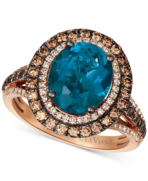 Le Vian Deep Sea Blue Topaz (4 ct. t.w.) & Diamond (7/8 ct.t.w.) Statement Ring in 14k Rose Gold