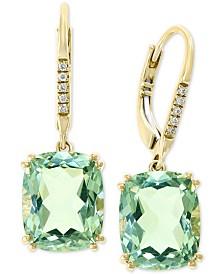 EFFY® Green Quartz (8-1/3 ct. t.w.) & Diamond Accent Drop Earrings in 14k Gold