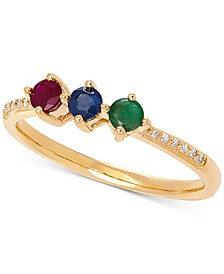Multi-Gemstone (3/8 ct. t.w.) & Diamond Accent Statement Ring in 14k Gold