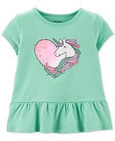 Toddler Girls Cotton Unicorn Peplum T-Shirt