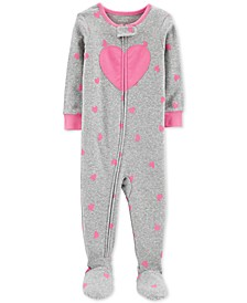 Toddler Girls 1-Pc. Heart-Print Footed Pajamas
