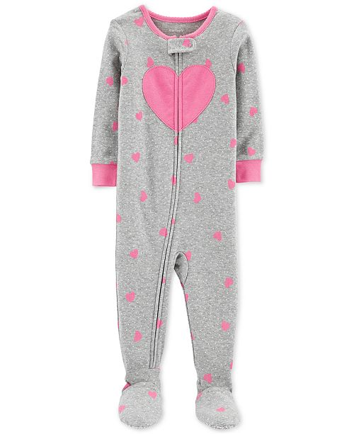Carter's Toddler Girls 1-Pc. Heart-Print Footed Pajamas