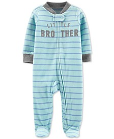 Baby Boys Little Brother Fleece Footed Coverall