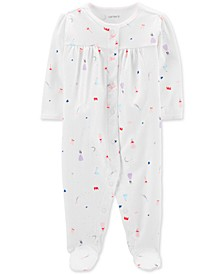 Baby Girls 1-Pc. Princess-Print Cotton Footed Pajamas