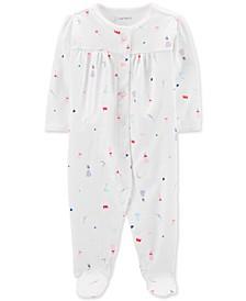 Baby Girls 1-Pc. Princess-Print Cotton Footed Pajamas