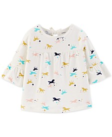 Toddler Girls Cotton Bell Sleeve Unicorn-Print Top