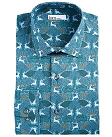 Men's Slim-Fit Performance Stretch Forest Deer-Print Dress Shirt, Created for Macy's