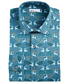 Bar III Men's Slim-Fit Performance Stretch Forest Deer-Print Dress Shirt, Created for Macy's