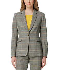 Tahari ASL One-Button Plaid Blazer