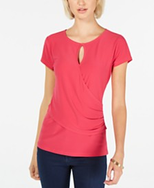 I.N.C. Short-Sleeve Keyhole Surplice Top, Created for Macy's