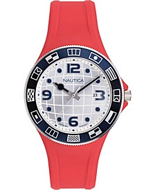 Men's NAPLBS902 Lummus Beach Red/White Silicone Strap Watch