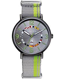 N83 Men's NAPWGS903 Wave Garden Gray/Green Fabric Slip-Thru Strap Watch