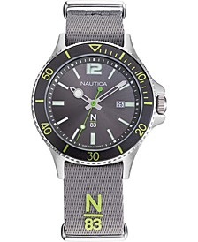 N83 Men's NAPABS905 Accra Beach Gray/Green Fabric Slip-Thru Strap Watch