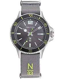 Nautica N83 Men's NAPABS905 Accra Beach Gray/Green Fabric Slip-Thru Strap Watch