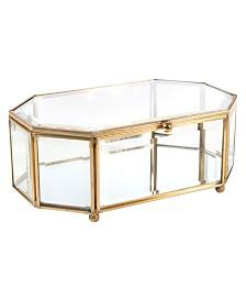 Home Details Vintage Mirrored Bottom Octagonal Glass Keepsake Box