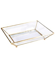 Vintage Mirrored Bottom Glass Keepsake Tray
