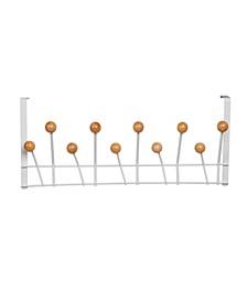 Wooden Balls 10 Hook Over the Door Rack
