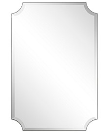 "Frameless Rectangle Scalloped Beveled Mirror - 24"" x 36"""