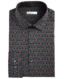 Men's Slim-Fit Performance Stretch Rose Arch-Print Dress Shirt, Created for Macy's