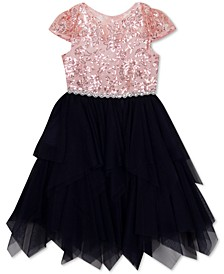 Toddler Girls Illusion-Neck Sequin Dress
